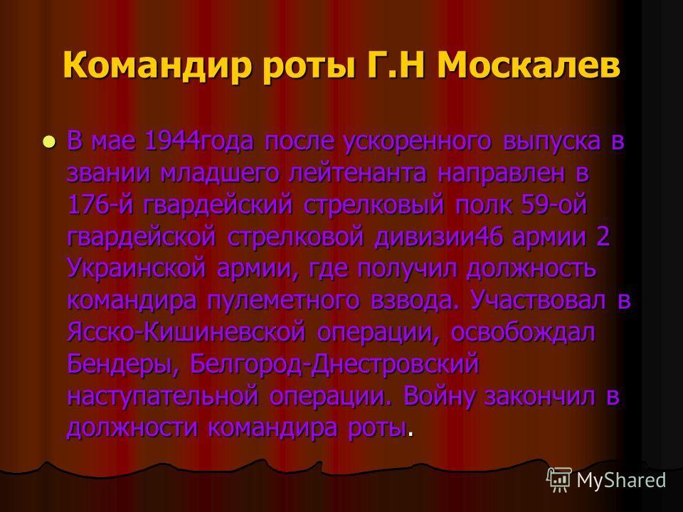 Командир роты Г.Н Москалев В мае 1944года после ускоренного выпуска в звании младшего лейтенанта направлен в 176-й гвардейский стрелковый полк 59-ой гвардейской стрелковой дивизии46 армии 2 Украинской армии, где получил должность командира пулеметног