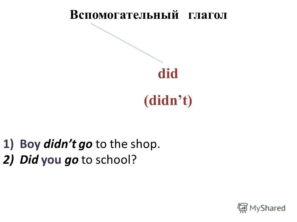 Вспомогательный глагол did (didnt) 1)Boy didnt go to the shop. 2)Did you go to school?