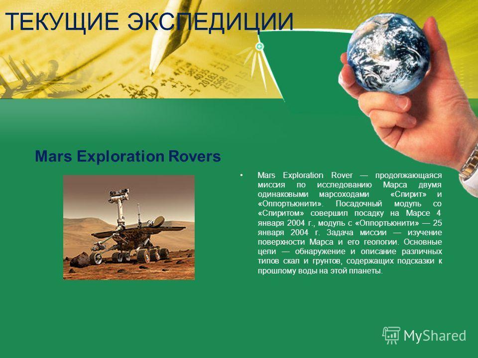 ТЕКУЩИЕ ЭКСПЕДИЦИИ Mars Exploration Rovers Mars Exploration Rover продолжающаяся миссия по исследованию Марса двумя одинаковыми марсоходами «Спирит» и «Оппортьюнити». Посадочный модуль со «Спиритом» совершил посадку на Марсе 4 января 2004 г., модуль