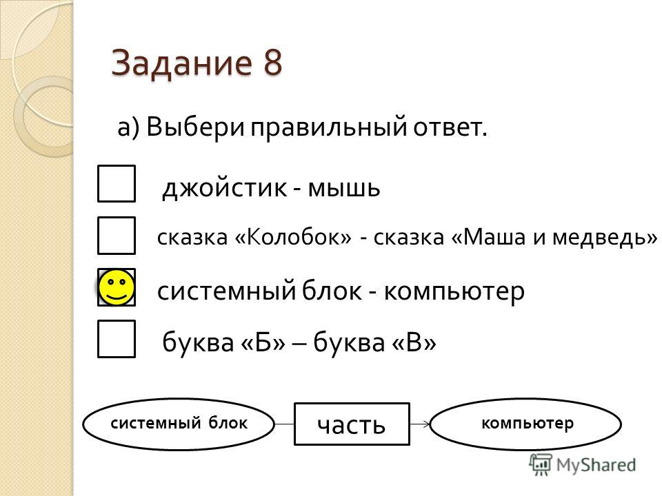 Задание 8 а ) Выбери правильный ответ. джойстик - мышь сказка « Колобок » - сказка « Маша и медведь » системный блок - компьютер буква « Б » – буква « В » часть системный блоккомпьютер