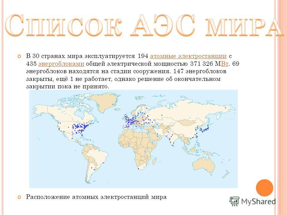 В 30 странах мира эксплуатируется 194 атомные электростанции с 435 энергоблоками общей электрической мощностью 371 326 МВт. 69 энергоблоков находятся на стадии сооружения. 147 энергоблоков закрыты, ещё 1 не работает, однако решение об окончательном з