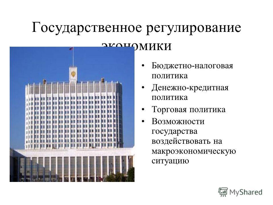 Государственное регулирование экономики Бюджетно-налоговая политика Денежно-кредитная политика Торговая политика Возможности государства воздействовать на макроэкономическую ситуацию