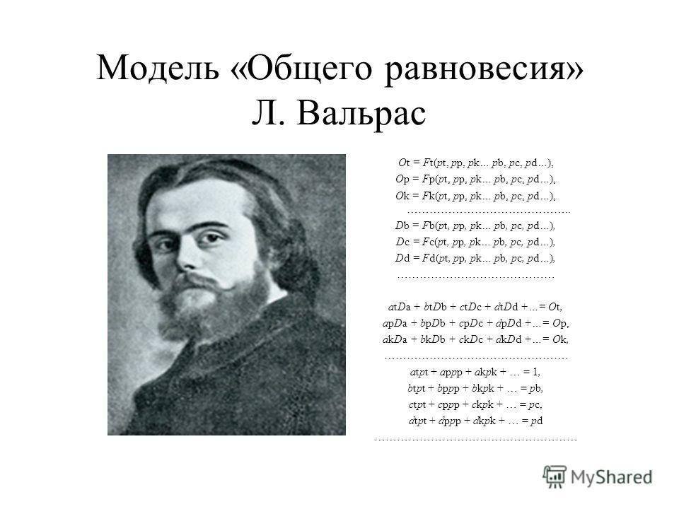 Модель «Общего равновесия» Л. Вальрас Ot = Ft(pt, pp, pk… pb, pc, pd…), Op = Fp(pt, pp, pk… pb, pc, pd…), Ok = Fk(pt, pp, pk… pb, pc, pd…), …………………………………….. Db = Fb(pt, pp, pk… pb, pc, pd…), Dc = Fc(pt, pp, pk… pb, pc, pd…), Dd = Fd(pt, pp, pk… pb, p