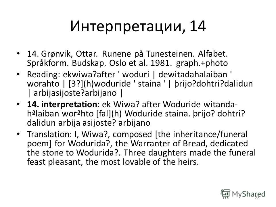 Интерпретации, 14 14. Grønvik, Ottar. Runene på Tunesteinen. Alfabet. Språkform. Budskap. Oslo et al. 1981. graph.+photo Reading: ekwiwa?after ' woduri | dewitadahalaiban ' worahto | [3?](h)woduride ' staina ' | þrijo?dohtri?dalidun | arbijasijoste?a