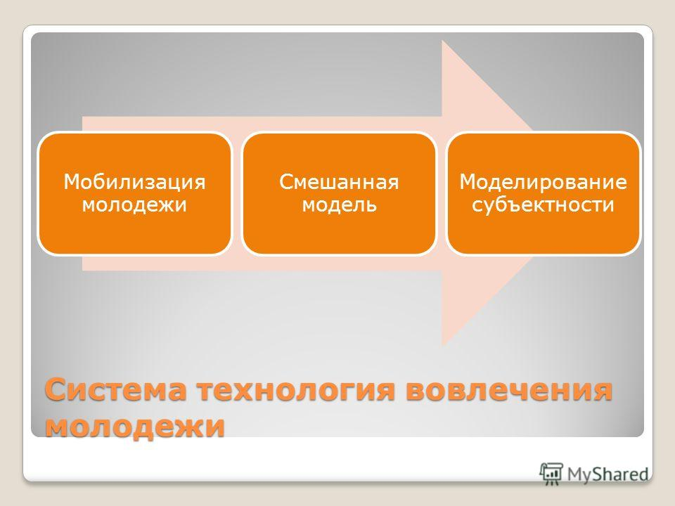 Система технология вовлечения молодежи Мобилизация молодежи Смешанная модель Моделирование субъектности