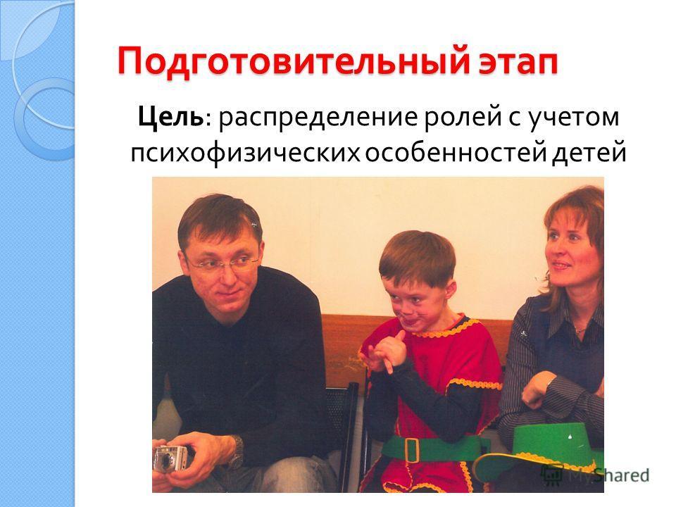 Подготовительный этап Цель : распределение ролей с учетом психофизических особенностей детей