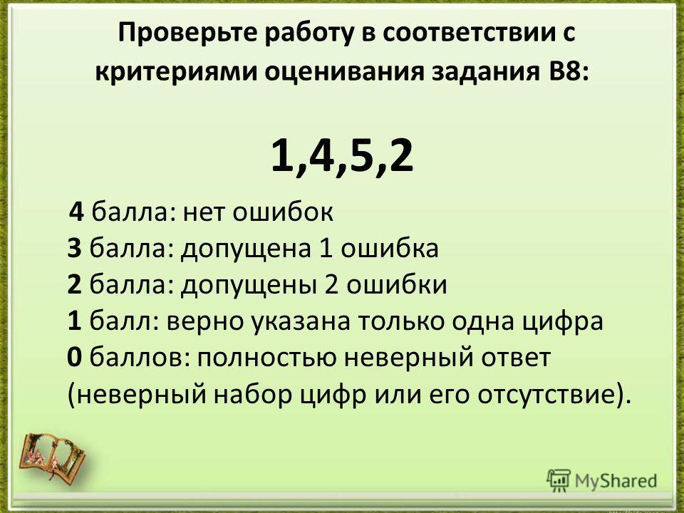 Проверьте работу в соответствии с критериями оценивания задания В8: 1,4,5,2 4 балла: нет ошибок 3 балла: допущена 1 ошибка 2 балла: допущены 2 ошибки 1 балл: верно указана только одна цифра 0 баллов: полностью неверный ответ (неверный набор цифр или