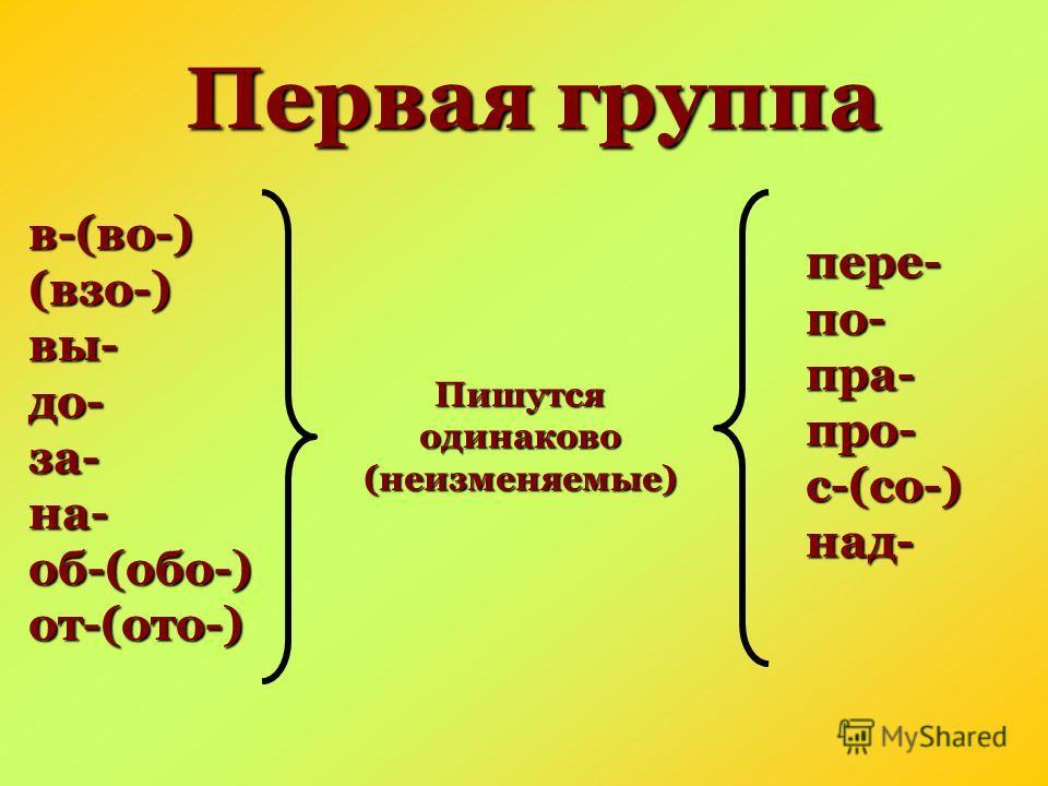 Первая группа в-(во-)(взо-)вы-до-за-на-об-(обо-)от-(ото-) Пишутся одинаково (неизменяемые) пере- по- пра- про- с-(со-) над-
