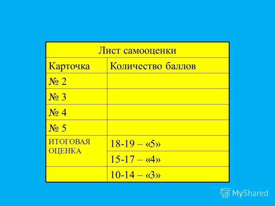 Лист самооценки КарточкаКоличество баллов 2 3 4 5 ИТОГОВАЯ ОЦЕНКА 18-19 – «5» 15-17 – «4» 10-14 – «3»