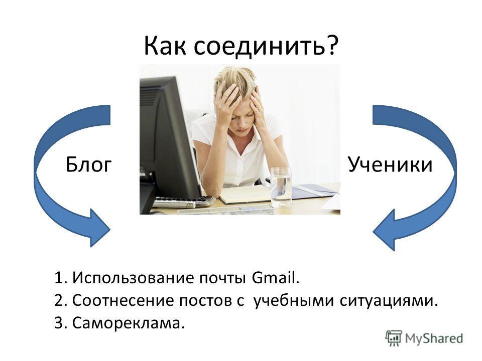 Как соединить? БлогУченики 1.Использование почты Gmail. 2.Соотнесение постов с учебными ситуациями. 3.Самореклама.