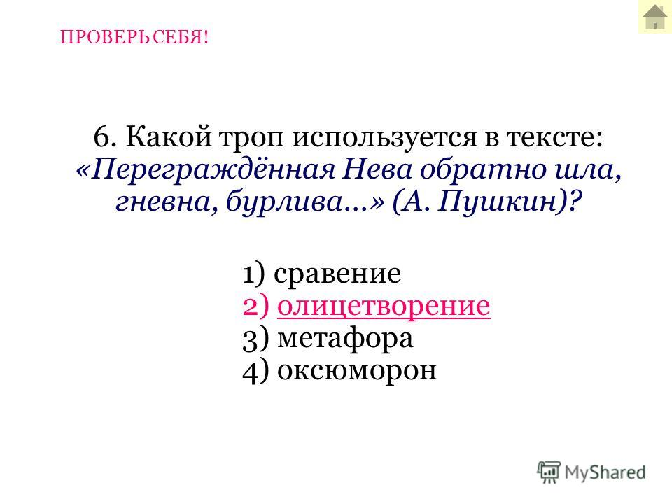6. Какой троп используется в тексте: «Переграждённая Нева обратно шла, гневна, бурлива...» (А. Пушкин)? 1) сравение 2) олицетворение 3) метафора 4) оксюморон ПРОВЕРЬ СЕБЯ!