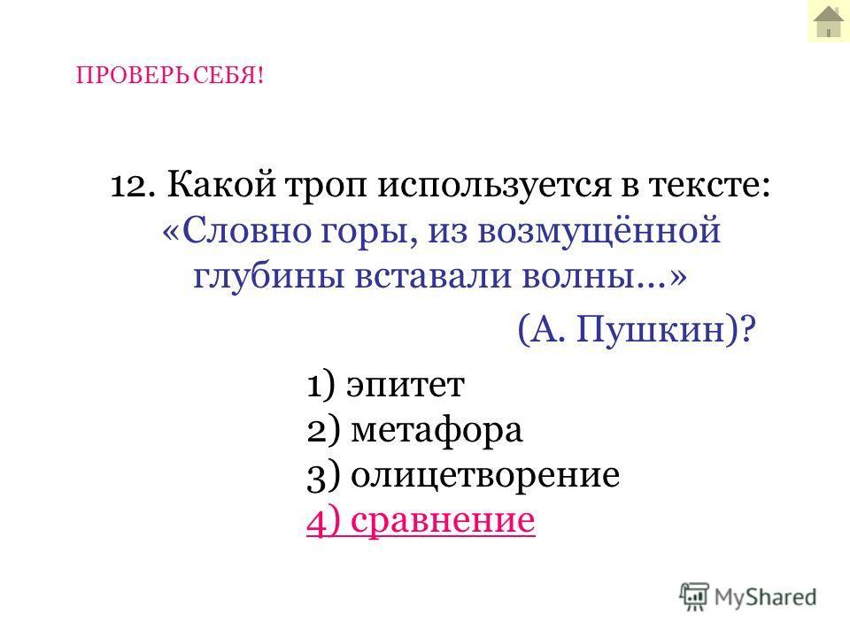 12. Какой троп используется в тексте: «Словно горы, из возмущённой глубины вставали волны...» (А. Пушкин)? 1) эпитет 2) метафора 3) олицетворение 4) сравнение ПРОВЕРЬ СЕБЯ!