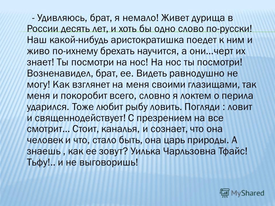 - Удивляюсь, брат, я немало! Живет дурища в России десять лет, и хоть бы одно слово по-русски! Наш какой-нибудь аристократишка поедет к ним и живо по-ихнему брехать научится, а они…черт их знает! Ты посмотри на нос! На нос ты посмотри! Возненавидел,