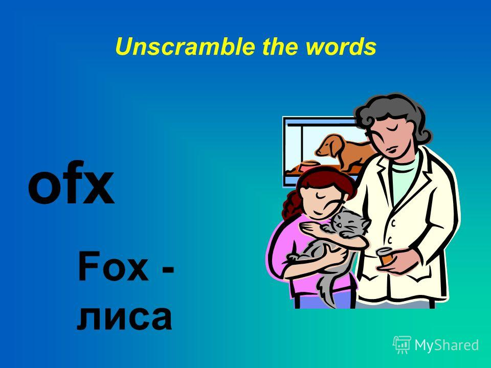 Unscramble the words bitrab Rabbit - кролик