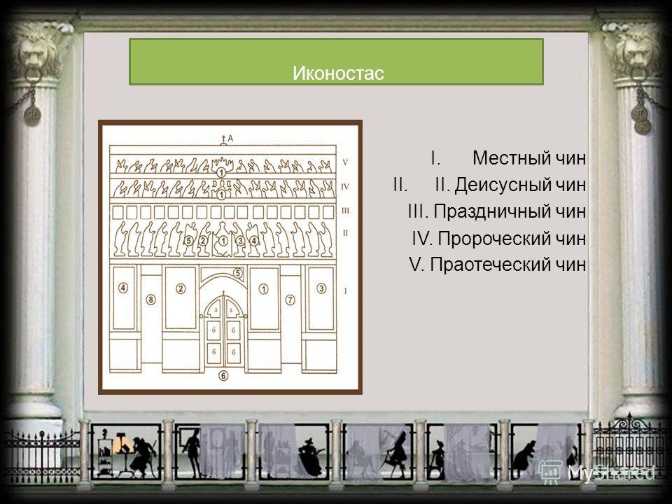 I.Местный чин II.II. Деисусный чин III. Праздничный чин IV. Пророческий чин V. Праотеческий чин Иконостас