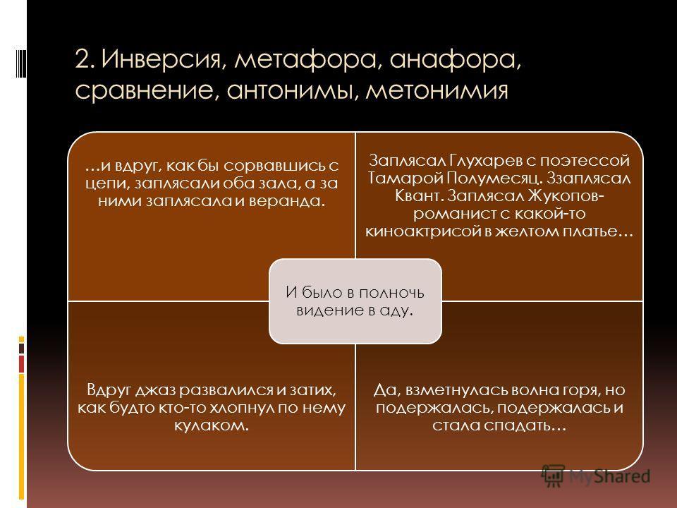 2. Инверсия, метафора, анафора, сравнение, антонимы, метонимия …и вдруг, как бы сорвавшись с цепи, заплясали оба зала, а за ними заплясала и веранда. Заплясал Глухарев с поэтессой Тамарой Полумесяц. Ззаплясал Квант. Заплясал Жукопов- романист с какой