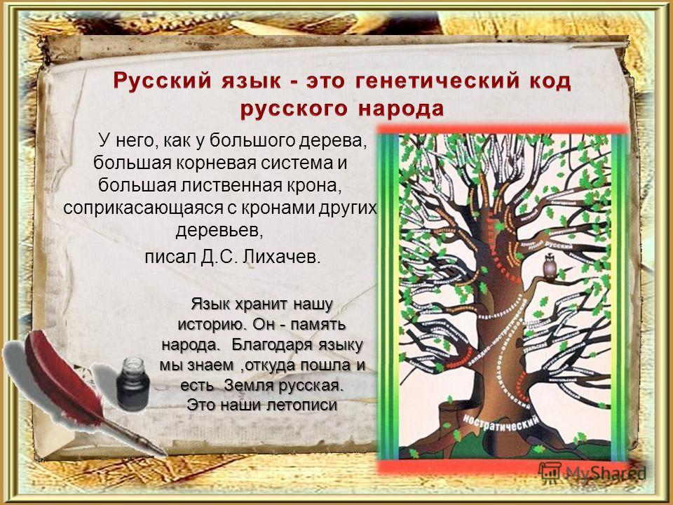 У него, как у большого дерева, большая корневая система и большая лиственная крона, соприкасающаяся с кронами других деревьев, писал Д.С. Лихачев. Язык хранит нашу историю. Он - память народа. Благодаря языку мы знаем,откуда пошла и есть Земля русска