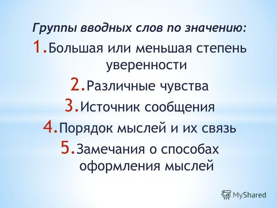 Группы вводных слов по значению: 1. Большая или меньшая степень уверенности 2. Различные чувства 3. Источник сообщения 4. Порядок мыслей и их связь 5. Замечания о способах оформления мыслей Употребление вводных слов конкретизирует и структурирует реч