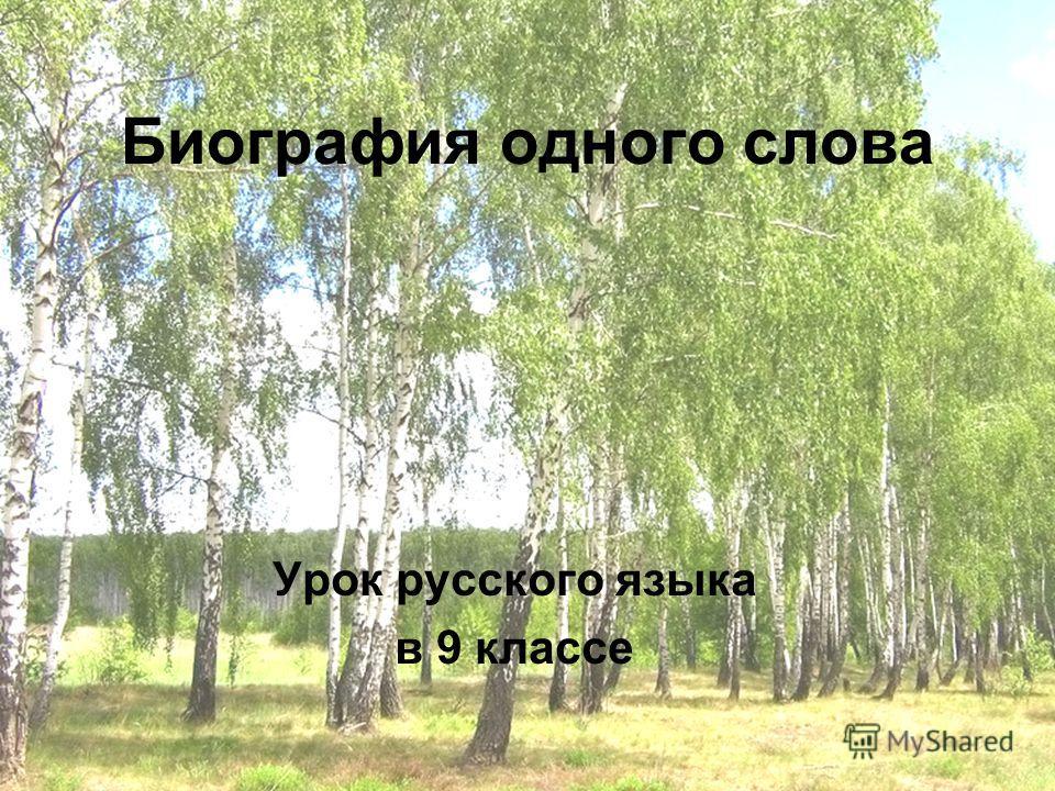 Биография одного слова Урок русского языка в 9 классе