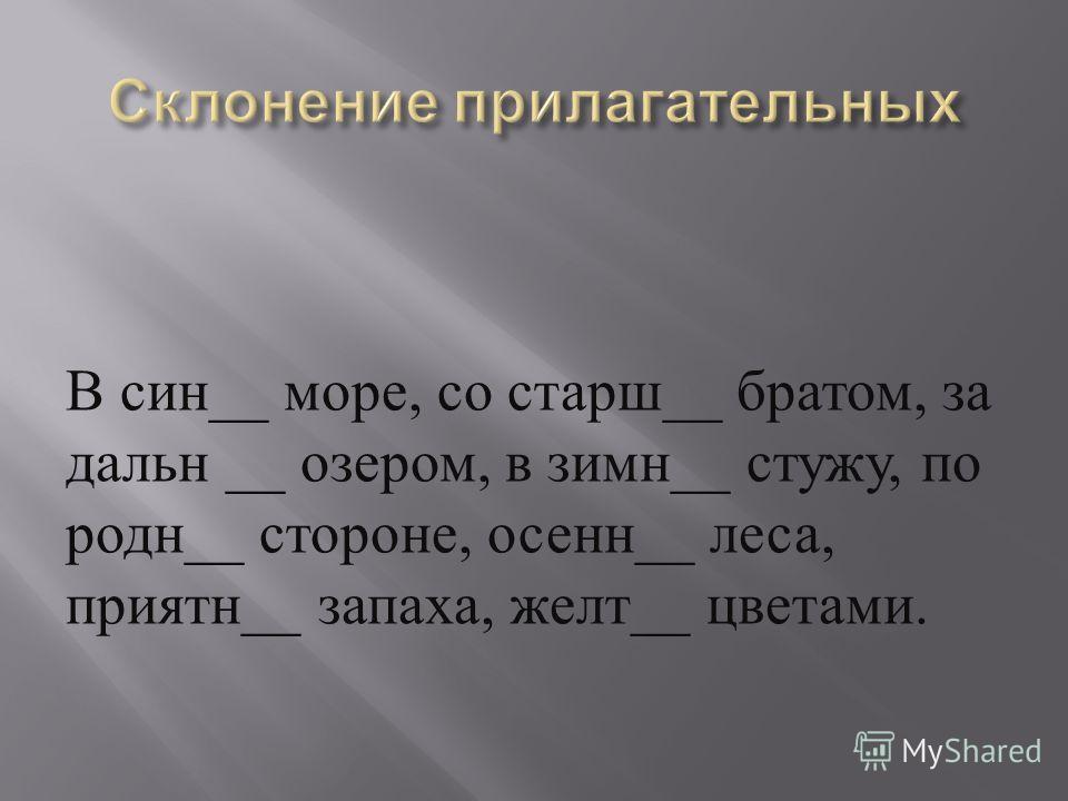 В син __ море, со старш __ братом, за дальн __ озером, в зимн __ стужу, по родн __ стороне, осенн __ леса, приятн __ запаха, желт __ цветами.