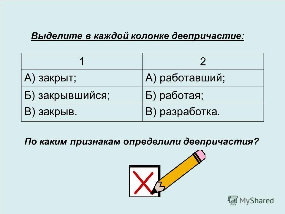 Выделите в каждой колонке деепричастие: 12 А) закрыт;А) работавший; Б) закрывшийся;Б) работая; В) закрыв.В) разработка. По каким признакам определили деепричастия?