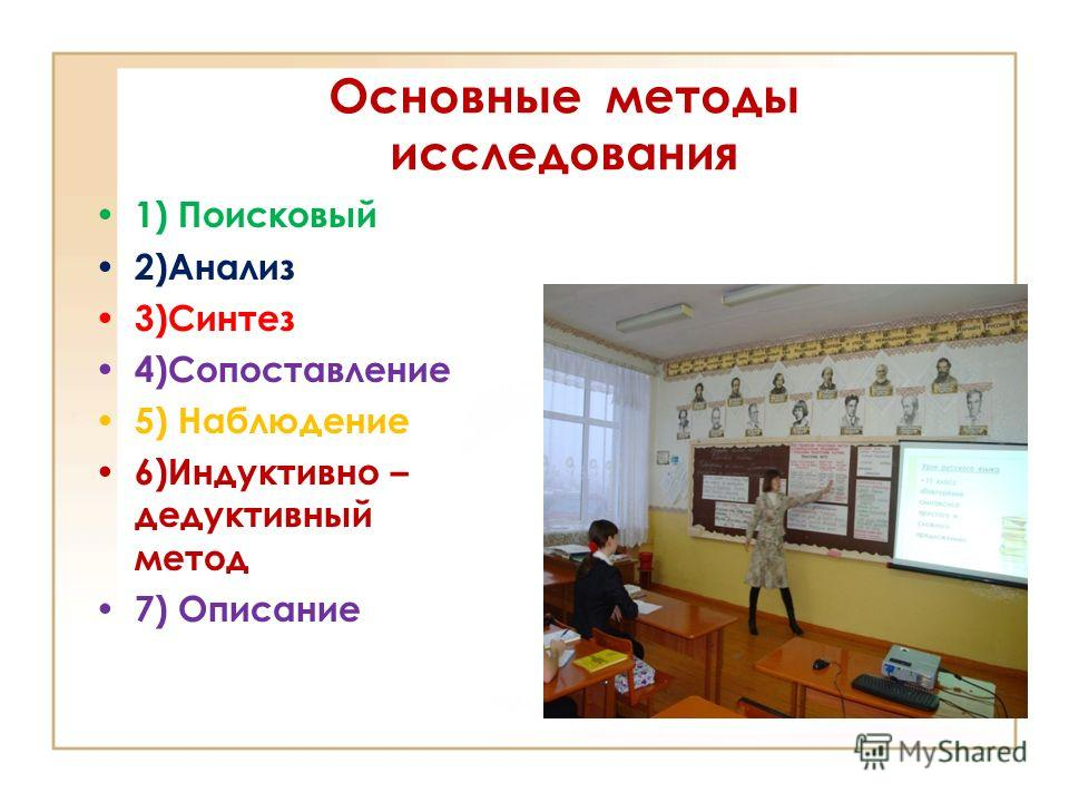 Основные методы исследования 1) Поисковый 2)Анализ 3)Синтез 4)Сопоставление 5) Наблюдение 6)Индуктивно – дедуктивный метод 7) Описание