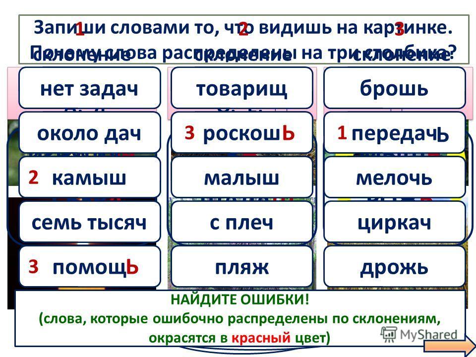 Запиши словами то, что видишь на картинке. Почему слова распределены на три столбика? ПРОВЕРИМ! ЁЖЁЖ ШАЛАШ МЫШЬ РОЖЬ ГРУША СВЕЧА 1 склонение 2 склонение 3 склонение М. и Ж.Р. -А, -Я М. и Ж.Р. -А, -Я М. и С.Р. -О, -Е, - М. и С.Р. -О, -Е, - Ж.Р. - Ж.Р.