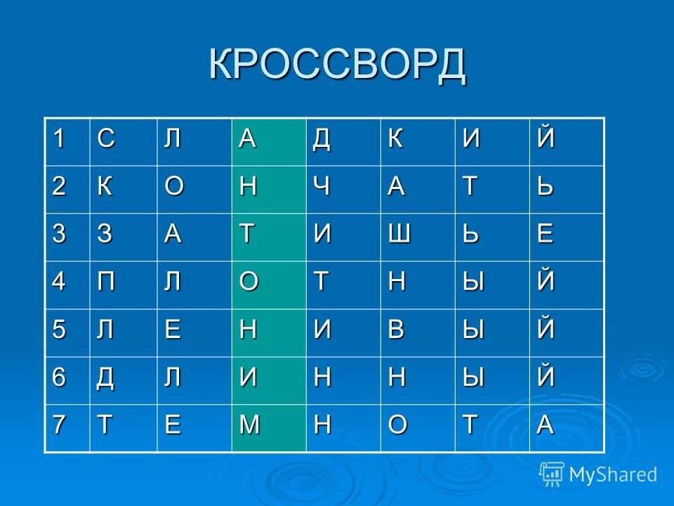 КРОССВОРД 1СЛАДКИЙ 2КОНЧАТЬ 3ЗАТИШЬЕ 4ПЛОТНЫЙ 5ЛЕНИВЫЙ 6ДЛИННЫЙ 7ТЕМНОТА