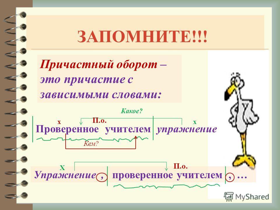 ЗАПОМНИТЕ!!! Причастный оборот – это причастие с зависимыми словами: Проверенное учителем упражнение Какое? хх Упражнение, проверенное учителем, … Х П.о. Кем?