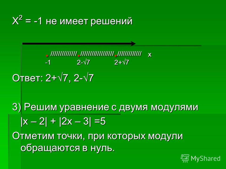 Х 2 = -1 не имеет решений. //////////////. //////////////////. ///////////// х. //////////////. //////////////////. ///////////// х -1 2-7 2+7 -1 2-7 2+7 Ответ: 2+7, 2-7 3) Решим уравнение с двумя модулями |х – 2| + |2х – 3| =5 |х – 2| + |2х – 3| =5