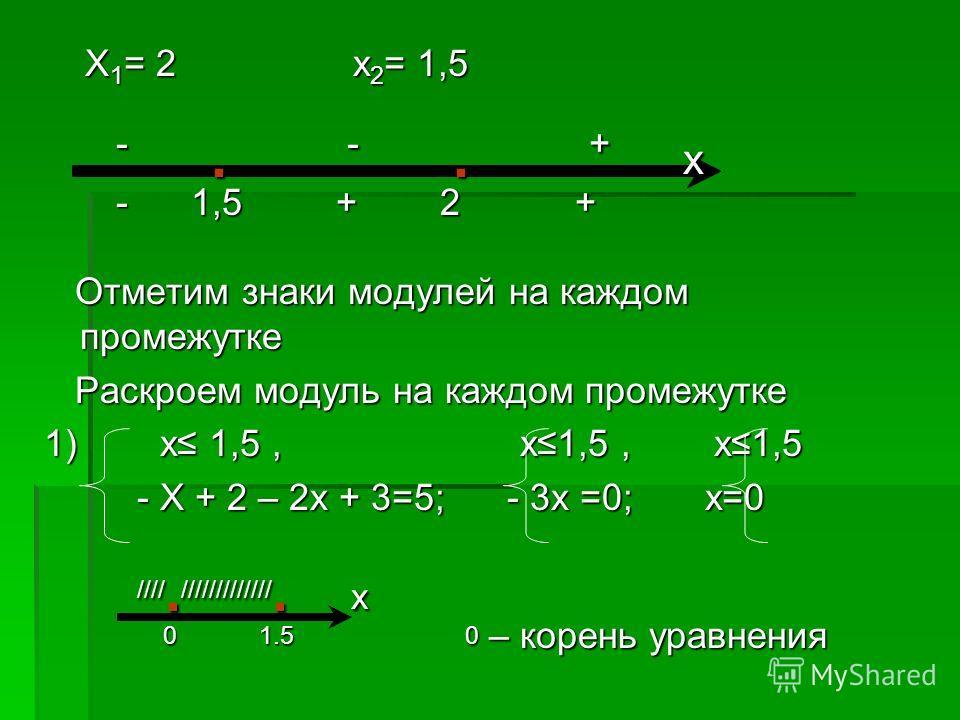 Х 1 = 2 х 2 = 1,5 Х 1 = 2 х 2 = 1,5 -. -. + х -. -. + х - 1,5 + 2 + - 1,5 + 2 + Отметим знаки модулей на каждом промежутке Отметим знаки модулей на каждом промежутке Раскроем модуль на каждом промежутке Раскроем модуль на каждом промежутке 1) х 1,5,