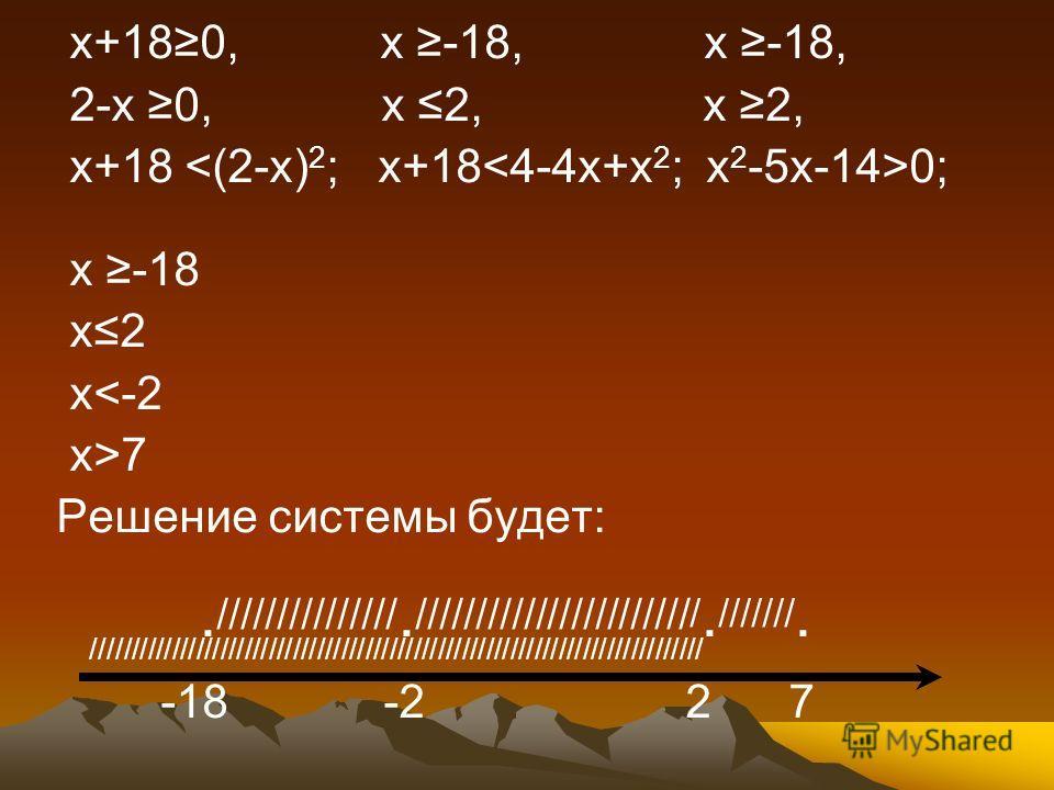 х+180, х -18, х -18, 2-х 0, х 2, х 2, х+18 0; х -18 х2 х7 Решение системы будет:. ///////////////. /////////////////////// /. ///////. //////////////////////////////////////////////////////////////////////////// -18 -2 2 7