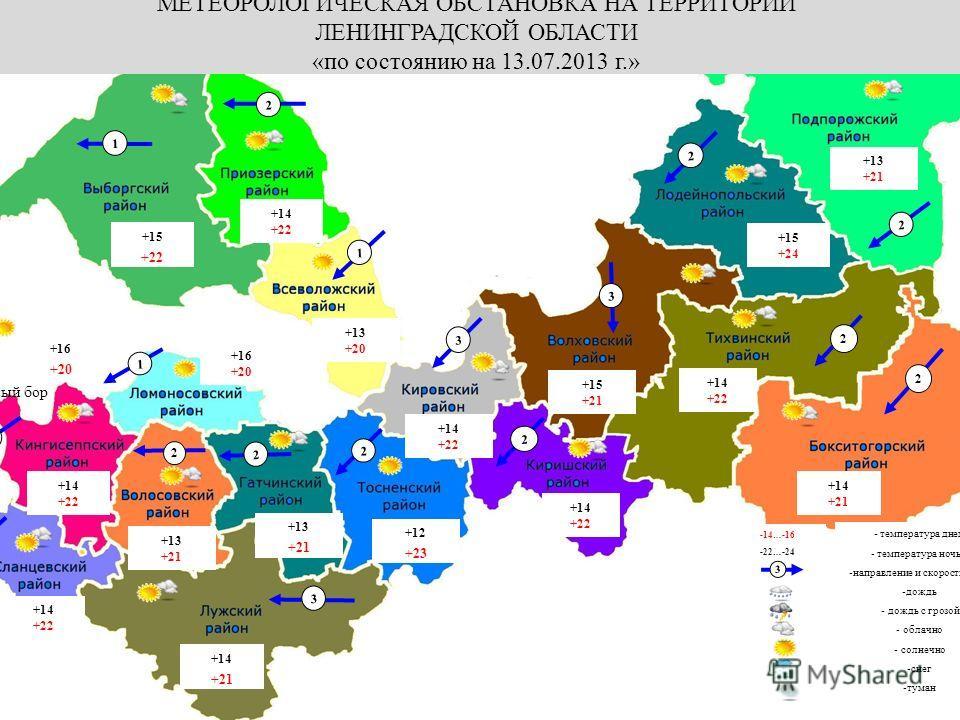Калининград МЕТЕОРОЛОГИЧЕСКАЯ ОБСТАНОВКА НА ТЕРРИТОРИИ ЛЕНИНГРАДСКОЙ ОБЛАСТИ «по состоянию на 13.07.2013 г.» -14…-16 -22…-24 - температура днем - температура ночью -направление и скорость ветра -дождь - дождь с грозой - облачно - солнечно -снег -тума