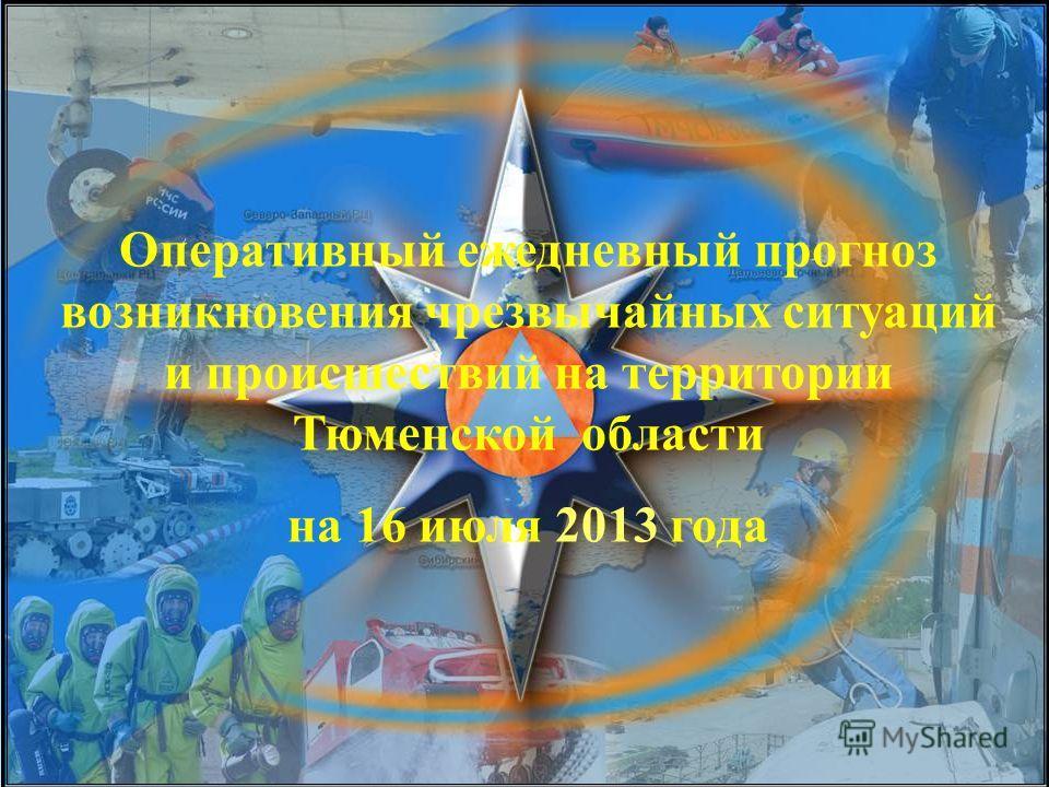 Оперативный ежедневный прогноз возникновения чрезвычайных ситуаций и происшествий на территории Тюменской области на 16 июля 2013 года