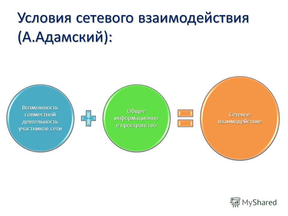 Условия сетевого взаимодействия (А.Адамский): Возможность совместной деятельность участников сети Общее информационно е пространство Сетевое взаимодействие