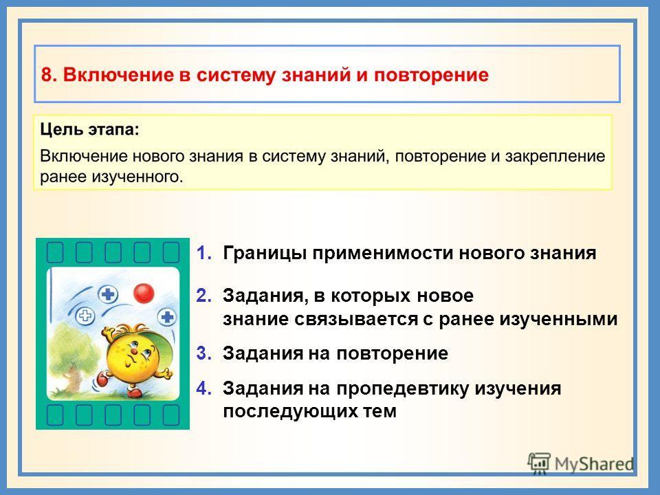 1. Границы применимости нового знания 2. Задания, в которых новое знание связывается с ранее изученными 3. Задания на повторение 4. Задания на пропедевтику изучения последующих тем
