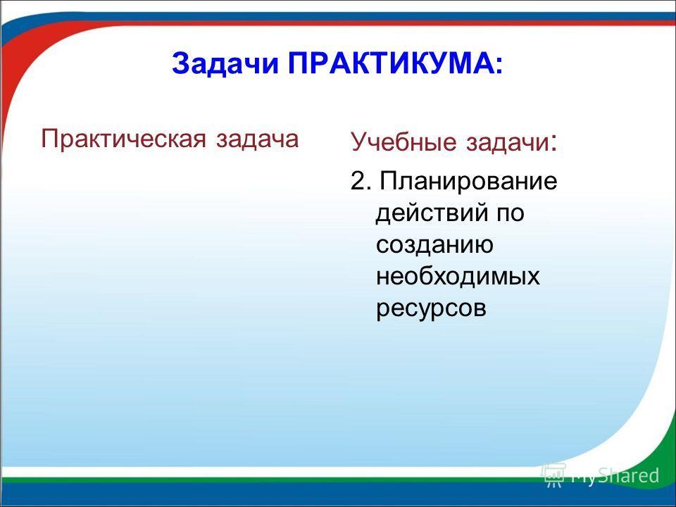 Задачи ПРАКТИКУМА: Практическая задача Учебные задачи : 2. Планирование действий по созданию необходимых ресурсов