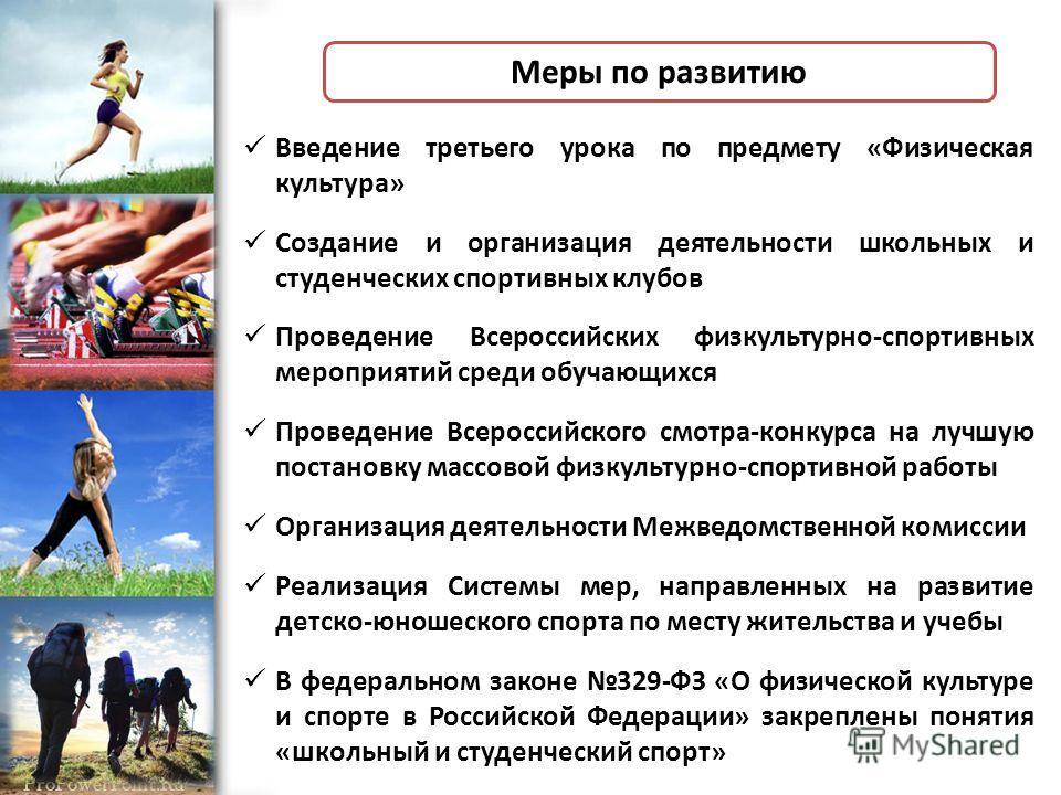 ProPowerPoint.Ru Введение третьего урока по предмету «Физическая культура» Создание и организация деятельности школьных и студенческих спортивных клубов Проведение Всероссийских физкультурно-спортивных мероприятий среди обучающихся Проведение Всеросс