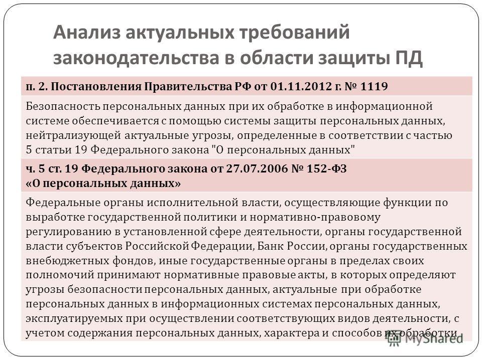 п. 2. Постановления Правительства РФ от 01.11.2012 г. 1119 Безопасность персональных данных при их обработке в информационной системе обеспечивается с помощью системы защиты персональных данных, нейтрализующей актуальные угрозы, определенные в соотве