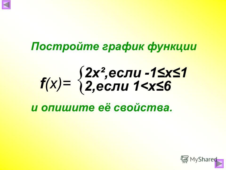 Постройте график функции и опишите её свойства. f(x)= 2х²,если -1х1 2,если 1