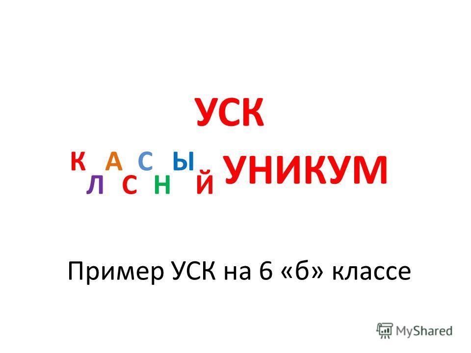 Пример УСК на 6 «б» классе УСК К Л А С С Н Ы Й УНИКУМ