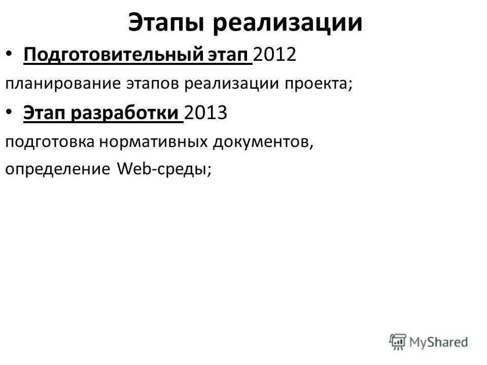 Этапы реализации Подготовительный этап 2012 планирование этапов реализации проекта; Этап разработки 2013 подготовка нормативных документов, определение Web-среды;