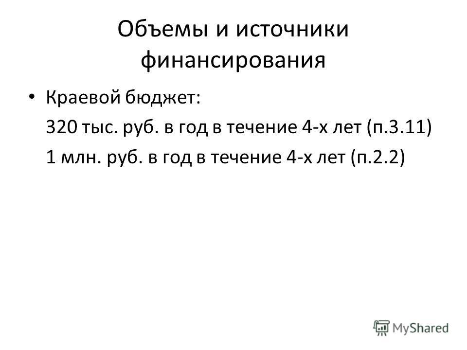 Объемы и источники финансирования Краевой бюджет: 320 тыс. руб. в год в течение 4-х лет (п.3.11) 1 млн. руб. в год в течение 4-х лет (п.2.2)