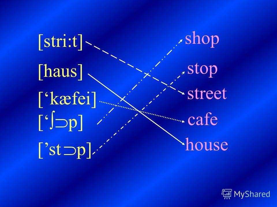 [stri:t] [haus] [kæfei] [ p] [st p] shop stop street cafe house