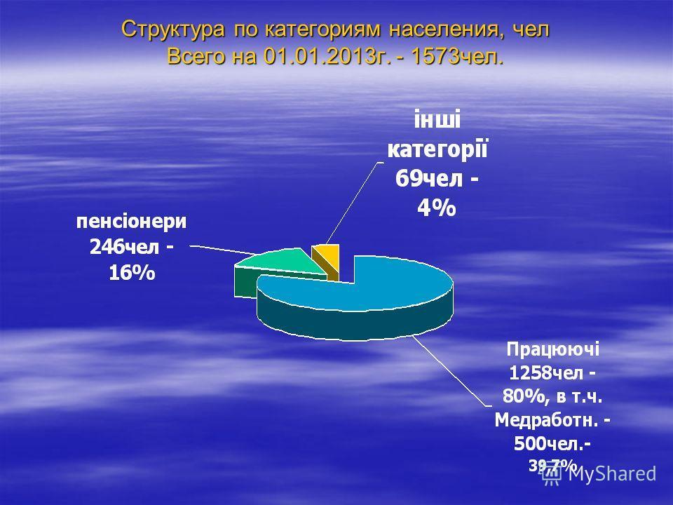Структура по категориям населения, чел Всего на 01.01.2013г. - 1573чел.