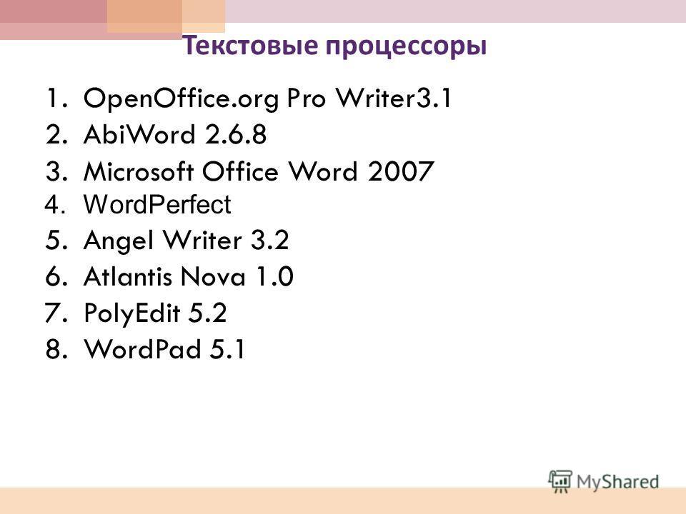 Текстовые процессоры 1.OpenOffice.org Pro Writer3.1 2.AbiWord 2.6.8 3.Microsoft Office Word 2007 4.WordPerfect 5.Angel Writer 3.2 6.Atlantis Nova 1.0 7.PolyEdit 5.2 8.WordPad 5.1