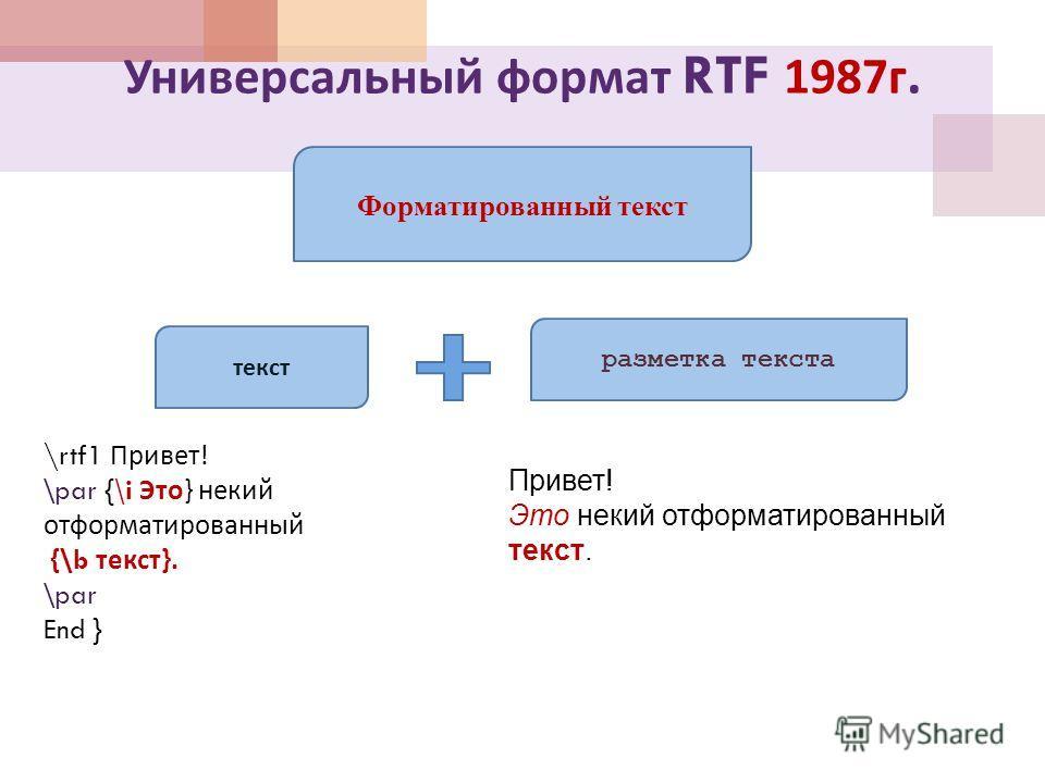 Универсальный формат RTF 1987 г. Форматированный текст текст разметка текста \rtf1 Привет ! \par {\i Это } некий отформатированный {\b текст }. \par End } Привет! Это некий отформатированный текст.
