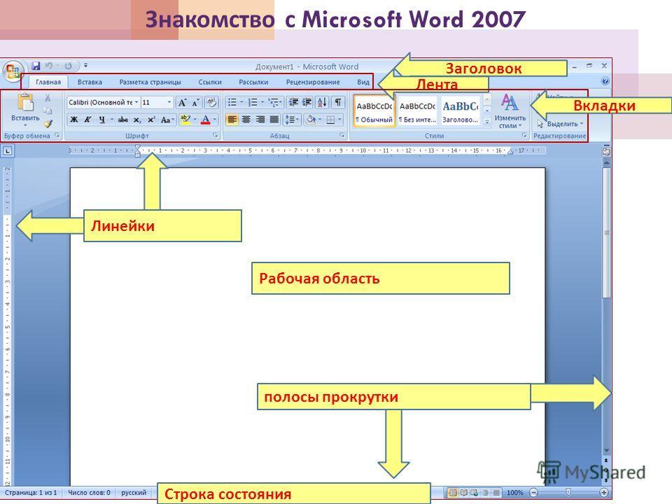 Знакомство с Microsoft Word 2007 Заголовок Лента Вкладки Линейки Рабочая область полосы прокрутки Строка состояния