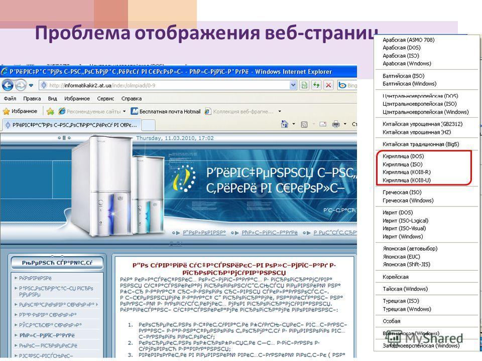 Проблема отображения веб - страниц
