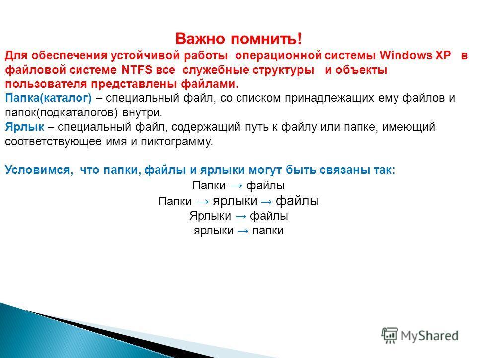 Важно помнить! Для обеспечения устойчивой работы операционной системы Windows XP в файловой системе NTFS все служебные структуры и объекты пользователя представлены файлами. Папка(каталог) – специальный файл, со списком принадлежащих ему файлов и пап